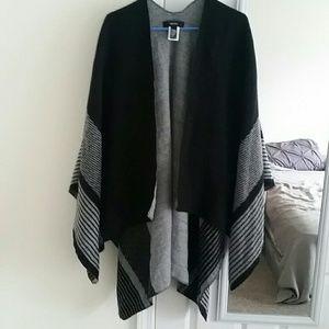 Black and gray poncho